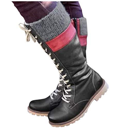 DNOQN Stiefeletten Damen Leder Springerstiefel Boots Freizeit Schnürschuhe Mischfarben Flache Absätze Große Stiefel Schuhe Schwarz 39