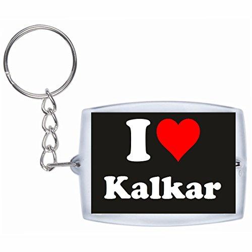 Druckerlebnis24 Schlüsselanhänger I Love Kalkar in Schwarz - Exclusiver Geschenktipp zu Weihnachten Jahrestag Geburtstag Lieblingsmensch