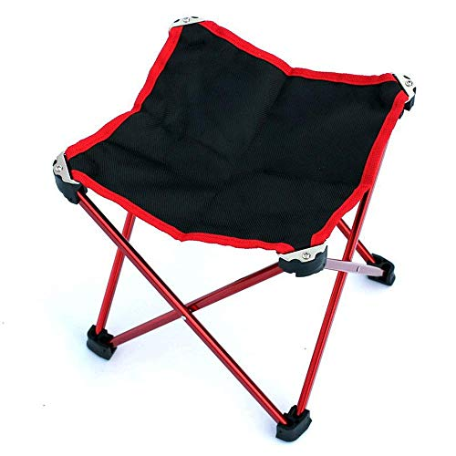 CHENDZ Mini tabouret multifonctionnel portatif en aluminium de chaise de tissu d'Oxford léger multifonctionnel pour la pêche Chaise portable d'extérieur (Color : Orange red)
