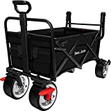 BEAU JARDIN Carretillas de Carro Plegable con Freno con Carro Plegable de Mano Carro Transporte para jardín Carro para Playa Carga hasta 80kg Negro