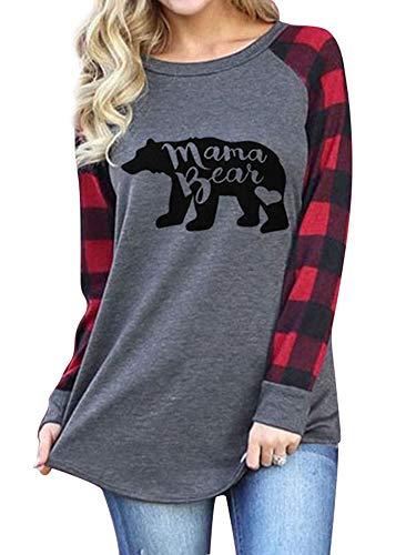 Dresswel Womens Mama Bear T-Shirts Plaid Tops Christmas Shirt Gifts for mom Grey