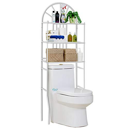 COSTWAY Toilettenregal WC-Regal Waschmaschinenregal Badregal Badezimmerregal Lagerregal Metall weiß