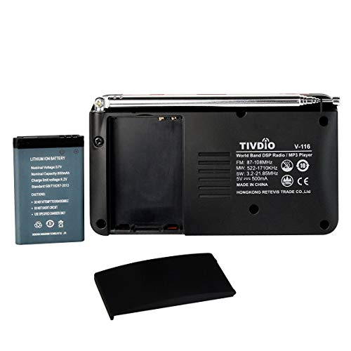 TIVDIO V-116 Portable Shortwave Radio with AM FM Transistor Support Micro-SD Card AUX Input MP3 Player Speaker Alarm Clock Sleep Timer(Black and Orange)