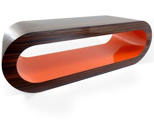 Zespoke Design Retro Noyer Rayé Orange Cerceau Table Basse TV/Meuble en Différentes Tailles
