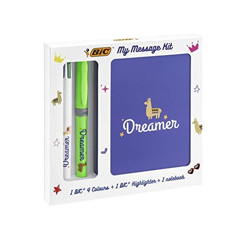 BIC My Message Kit Dreamer - Juego de Escritorio con 1 BIC4 colores Bolígrafo, 1 BIC Highlighter Grip Bolígrafo (Verde), 1 Libreta Tamaño A6 (Blanca), Pack de 3