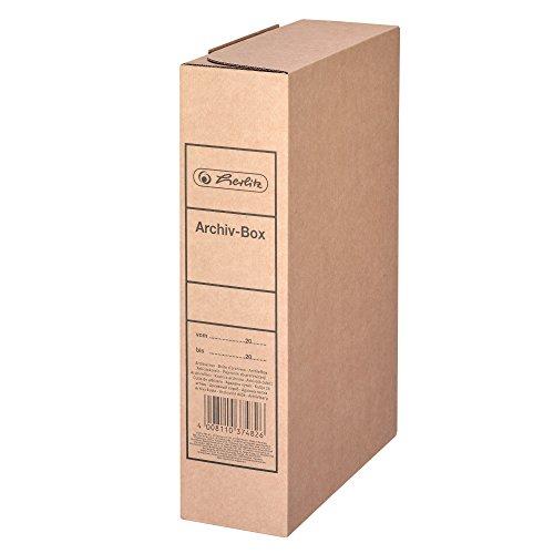 Herlitz 11000320 pudełko do archiwizacji, format A4, 8 cm, brązowy karton falisty na luźne arkusze, szer./głęb./wys. 80 x 230 x 320 mm