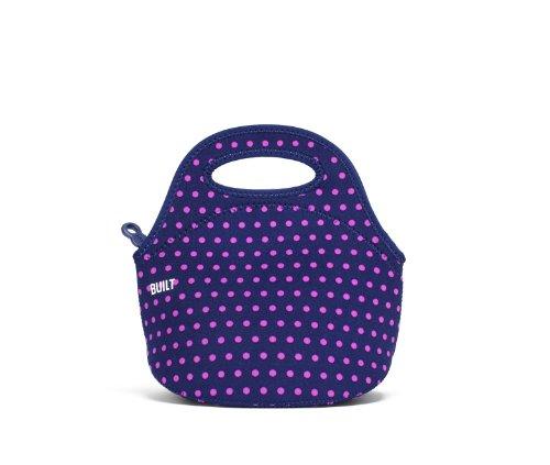 BUILT Gourmet Getaway Mini Soft Neoprene Lunch Tote Bag-Lightweight, Insulated and Reusable Mini Dot Navy LB10-MNV