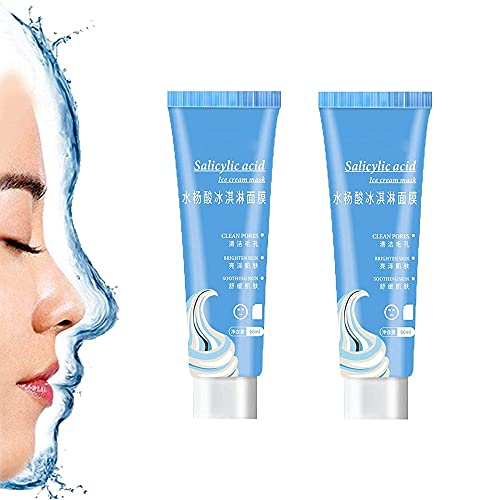 2Pcs Salicylic Acid Ice Cream Mask,Oil Control Solid Mask Deep Cleansing Fades Acne Blackheads Remover Hydrate&Moisturizing for ALL Skin Types