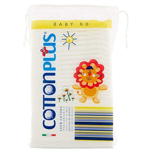 Cotton Plus BABY 60 pz. - LINEA BABY | DISCHETTI PRETAGLIATI 100% PURO COTONE | Per la pulizia dei più piccoli, in morbido cotone ipoallergenico, assorbenti e resistenti.