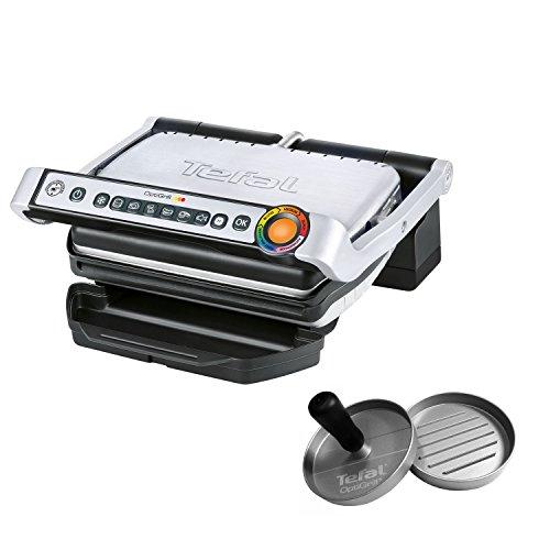 Tefal OptiGrill inkl. Hamburgerpresse GC702D.HB Kontaktgrill (2.000 Watt, Standard-Modell, automatische Anzeige des Garzustands, 6 voreingestellte Grillprogramme) schwarz/edelstahl