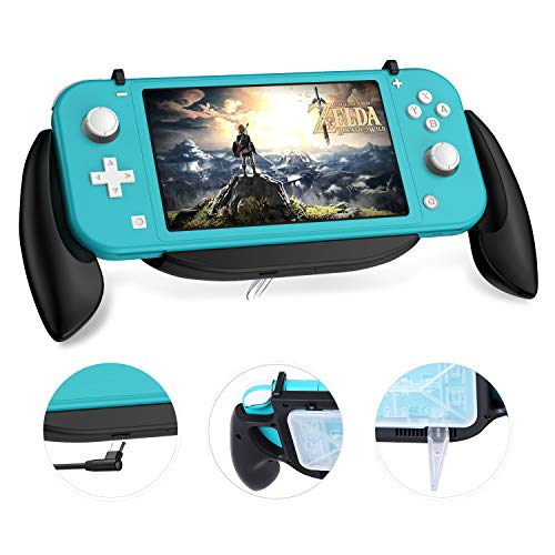 Ztotop Gaming Grip Case for Nintendo Switch Lite, Ergonomic Comfort Charging Grip Case with Game Card Storage Box, Compatible 5V 2A AC Adapter with Type-C Cable for Switch Lite Console, Black