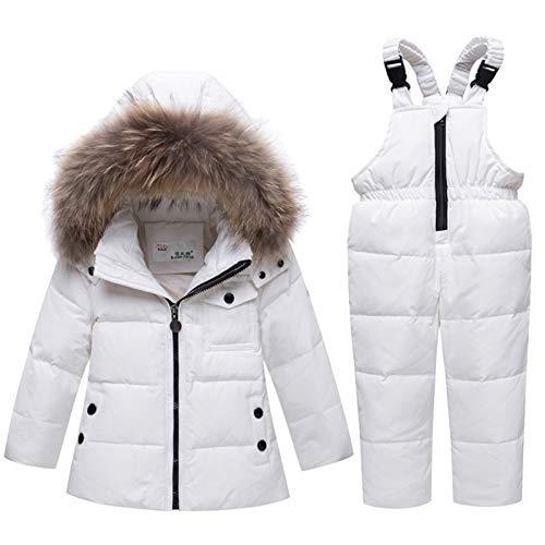 Pyjamasuppsättningar Winter Boy Girl skidkläder baby Vinter varma kläder Ställer overall barn Fur Hooded Down Jacket Coat 5 färger Mjuk (Color : White, Size : 90)