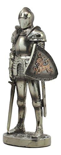 "Ebros Medieval Suit Of Armor Statue 7"" Tall Valiant Swordsman Brave Lionheart Knight Figurine"