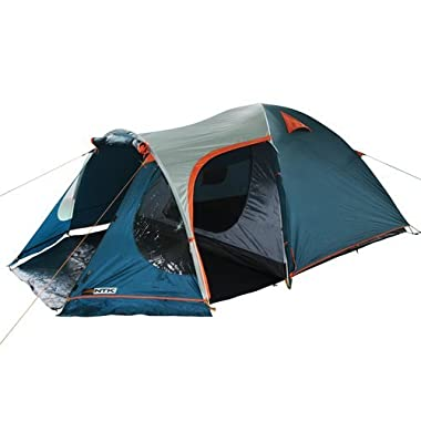 NTK INDY GT 4 to 5 Person 12.2 by 8 Foot Outdoor Dome Family Camping Tent 100% Waterproof 2500mm, European Design, Easy Assembly, Durable Fabric Full Coverage Rainfly - Micro Mosquito Mesh.