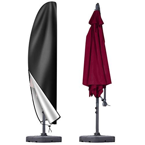 OKPOW Patio Umbrella Cover, Heavy Duty 420D Oxford Fabric Offset Umbrella Cover Waterproof Rip Proof with Zip, for 12ft to 14ft Cantilever Parasol Umbrellas Garden Outdoor Umbrellas