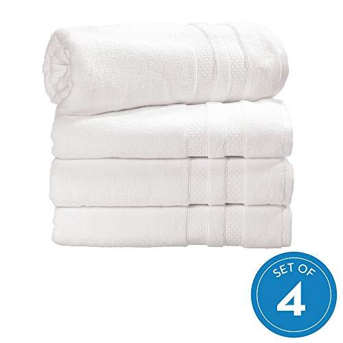 iDesign 4-delige set handdoeken, grote handdoek voor het douchen met geweven versiering van katoen, zachte handdoekenset voor douche, badkuip en sauna, rookblauw