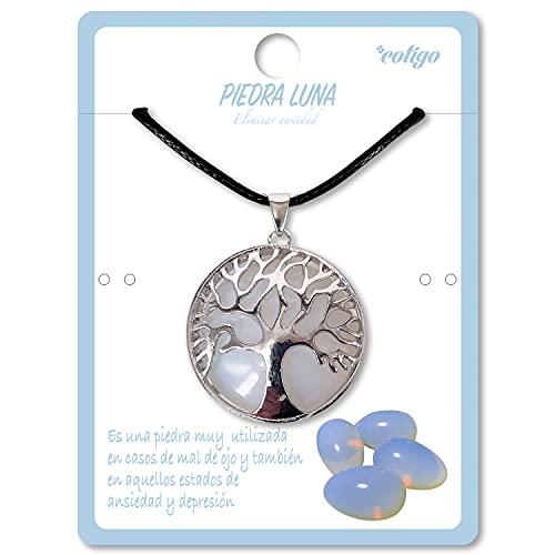 Collar de árbol de la Vida con Colgante Piedra Natural Energeticas - Distintas Piedras Semipreciosas (Piedra Luna)