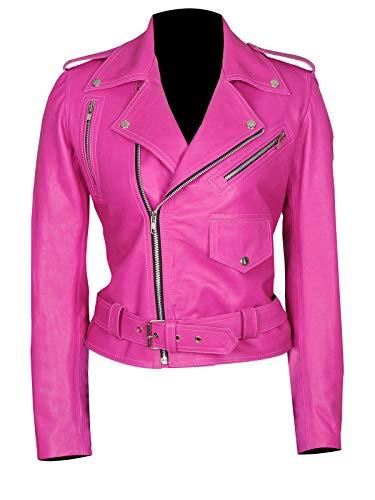 LP-FACON Mujer Diseñadora Jessica Alba Recortada Cuero Real Biker Chaqueta-Rosa Caliente Chaqueta Cultivo-Valentine Special Jacket Mujeres
