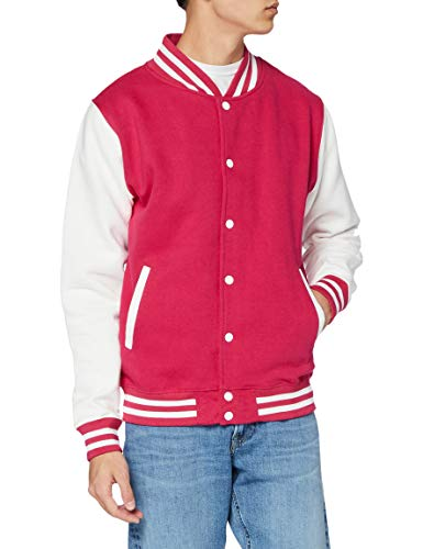 Just Hoods by AWDis Varsity Jacket Blouson, Rose (Hot Pink/White), Medium Homme