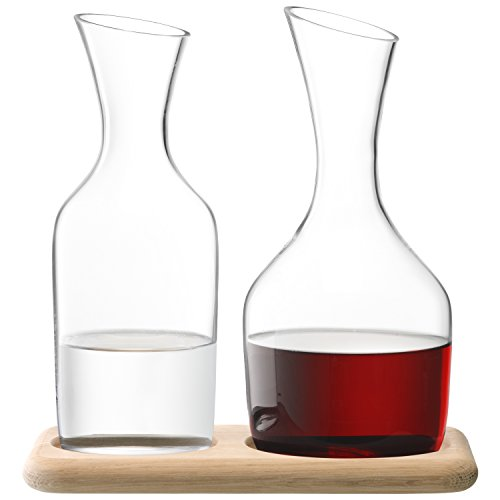 LSA WI25 Wine Water & Wine Carafe Set & Oak Base 1.2L/1.4L Clear *