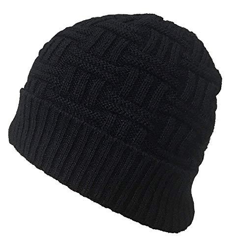 PINZU Winter Warm Knitted Woolen Skull Cap for Men & Women(cd-01-blck) Black