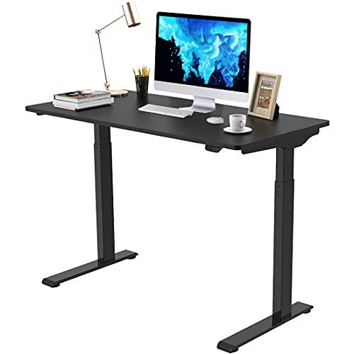 Flexispot Quick Install Standing Desk EC9 Electric Height Adjustable Desk Computer Laptop 48 x 24 Inches Sit Stand Desk Whole Piece Desk Board VICI(Black Frame + 48' Black Top)