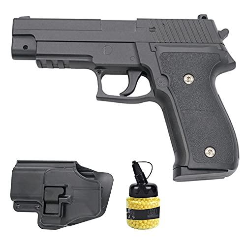 Pistola de Airsoft G26 Metal | Arma de Bolas de PVC o plástico Tipo Sig Sauer P226 + pistolera + biberón