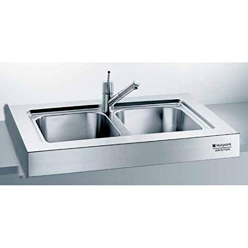HOTPOINT Ariston Lavello da appoggio monoblocco acciaio inox 2 vasche cm 90