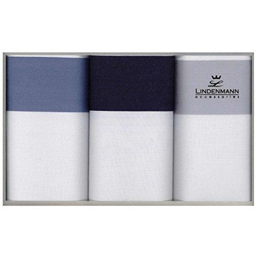 Lindenmann Handkerchiefs for men, 3-pack, white with grey/blue, 50011-001
