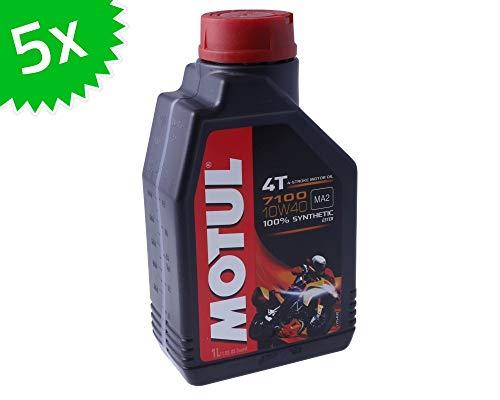 Aceite de motor Motul 4T 10W40-7100, totalmente sintético, 5 litros, 4 tiempos, 5 unidades