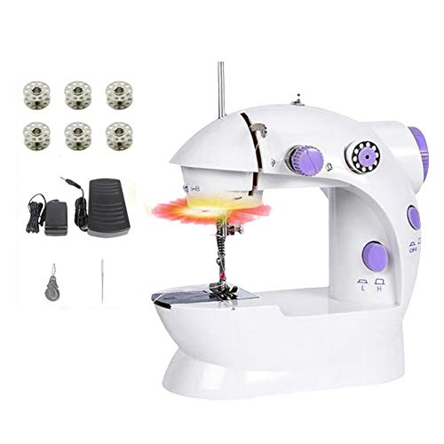 Mini Sewing Machine,Small and Portable Electric Crafting Mending Machine 2-Speed Double Thread with Foot Pedal for Household Travel Beginner (10PCS Kit)