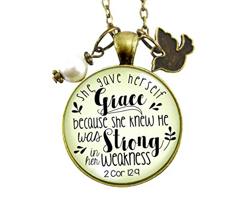 """Gutsy Goodness 24"""" She Gave Herself Grace Christian Necklace Bible Quote Dove Jewelry"""