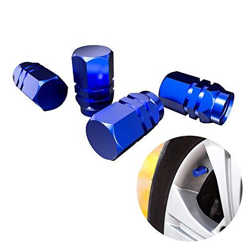 ZOOENIE 4PCS Ventildeckel Auto Ventilkappen Abdeckung, Reifen Stamm Ventil Kappen Autoventil Aluminium Auto Metall Staubdicht Radschaft Luft mit Gummikissen (Blau)