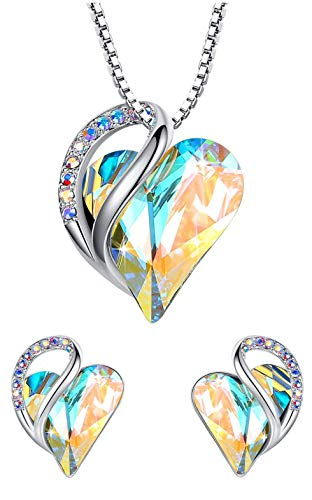Leafael Infinity Love Crystal Heart Bundle Jewelry Set Opal White April Birthstone Gifts for Women Necklace Earrings, Silver-tone