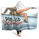 SUGARHE Manta con Capucha,Pin up Wings 2 Nochevieja,Suave Siesta ponible Mantas de Viaje/Vacaciones/...