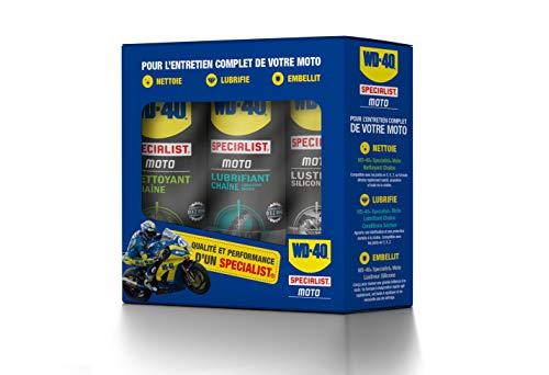 WD-40 Specialist Moto • Kit Entretien Moto • un Nettoyant Chaîne • un Lubrifiant Chaîne • un Lustreur Silicone • Solution 3 en 1 pour Moto