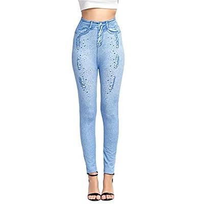 Excursion Clothing Women's Denim Print Fake Jeans Seamless Leggings High Waist Full Length Skinny Pants