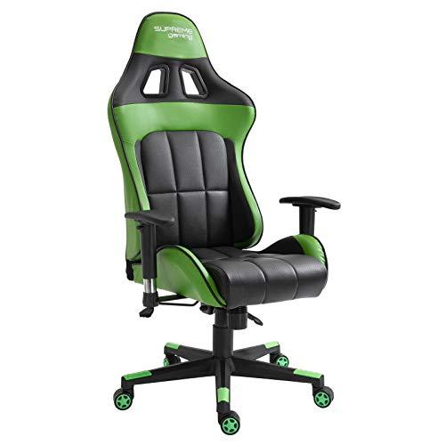 CARO-Möbel Gaming Drehstuhl Crew in schwarz/grün Racer Racing Bürostuhl Schreibtischstuhl höhenverstellbar Wippmechanik