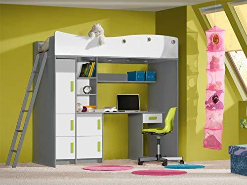 Etagenbett für Kinder GIT Stockbett mit Treppe und Bettkasten KRYSPOL (Anthrazit + Weiße + grüne Griffe)