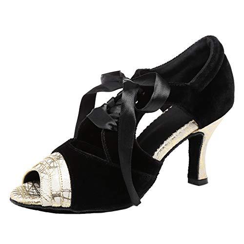 VCIXXVCE Zapatos de Baile Latino para Mujer con Cordones Zapatos de Baile de Salsa para Fiestas de salón Suela de Ante,Negro,EU 35