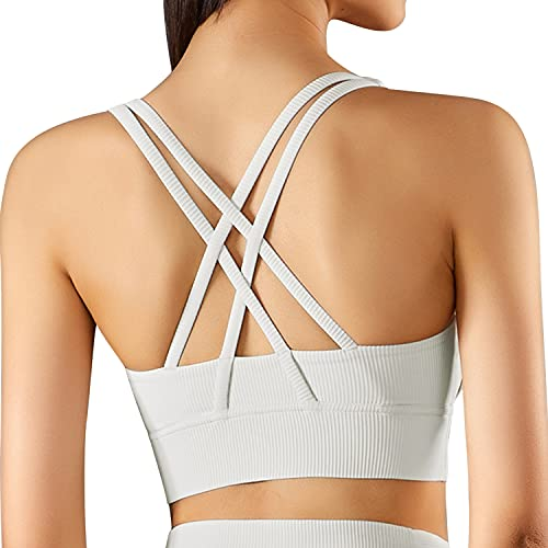 Ama Larsi Sports Bra for Women, Cross Strappy Back Yoga Bras, High Support Workout Top, for HIIT, Running, Train Ivory White