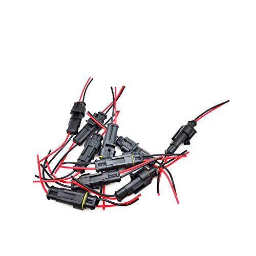 GIS 10pcs / Lote 2Pin a Prueba de Agua Conector eléctrico Conector del Cable de la Motocicleta del camión del Coche