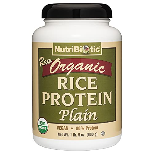 NutriBiotic Certified Organic Plain Rice Protein, 21 Ounce | Low Carbohydrate Vegan Protein Powder | Raw, Certified Kosher & Keto Friendly | Made without Chemicals, GMOs & Gluten | Easy to Digest