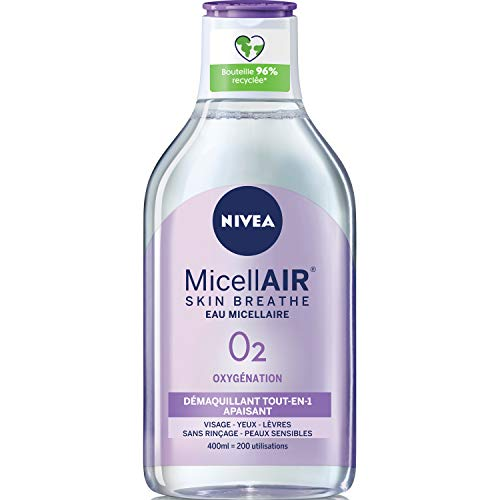 NIVEA MicellAIR SKIN BREATHE Eau Micellaire Peaux Sensibles, démaquillant 3 en 1 sans parfum ni colorant, nettoyant visage, yeux & lèvres, 400 ml