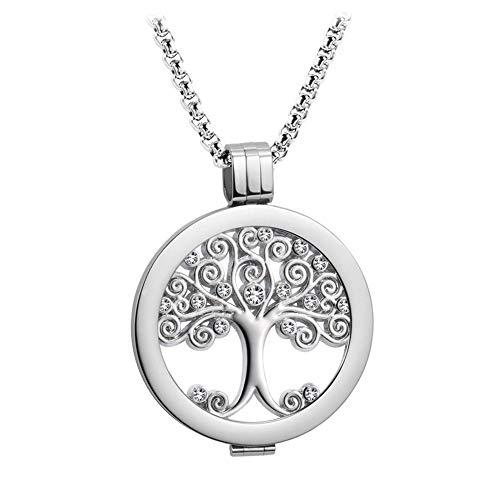 Meilanty Damen Halskette mit Anhänger Coins 33mm Lebensbaum Edelstahl Ankerkette Box Kette Langen 80cm mit Geschenkbox Baum des Lebens Silber ZH-044
