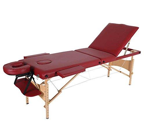 3 Falten Tragbar Massageliege Einstellbar Hölzern Bett Spa Salon Tätowierung Gesichts mit Frei Tragen Fall