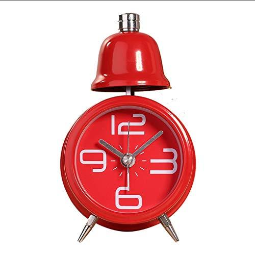 zxb-shop Reloj de Escritorio Silencio clásico Mini Lindo Pequeño Despertador y Luz Nocturna Timbre de una Sola Campana Escritorio de Escritorio Reloj Digital Casa instalada con Pilas Reloj de Mesa