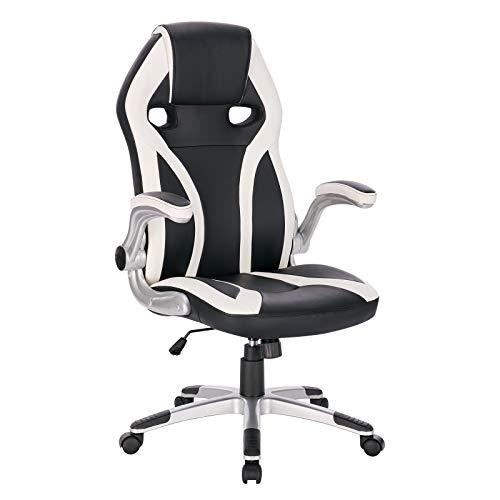 WOLTU BS90ws Gaming Stuhl Racing Stuhl Bürostuhl Chefsessel PC Stuhl Schreibtischstuhl Sportsitz Drehstuhl Ergonomisch mit Armlehne Wippfunktion Kunstleder höhenverstellbar Weiß