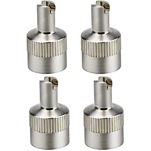Demason 4 Stück Autoventil-Schlüssel Metall-Ventilkappen mit Schlüssel Ventilausdreher Autoventilkappen Reifenventil-Entferner Ventil-Schrauber Werkzeug