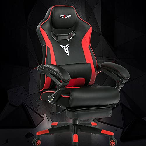 KCREAM Big and Tall Computer Desk Chair with Footrest Racing Style Ergonomic Gaming Chair with Build-in Lumbar Support and Adjustable Recliner High Back Leather E-Sports Chair for Taller Adult